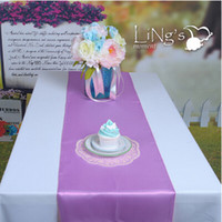 Wholesale Wholesale Banquet Tables For Sale - Hot Sale 30 cmX275 cm Light Purple Satin Table Runners Wedding Banquet Cloth Runner For Festive Holiday Party Supplies Free Shipping