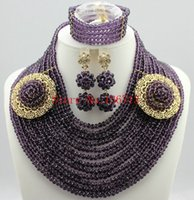 Wholesale Silver Costume Jewelry Sets - 2016 Classic Design Nigerian Wedding African Beads Jewelry Set Costume Jewelry Sets 18K Gold Plated Free Shipping SD123-1
