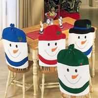 Wholesale Table Linens Chair Covers - Wholesale-Snowman Chair Back Cover for Christmas home kitchen Dinner Table Hat Decoration Kitchen Chair 4 Colors Party Holiday Decoration