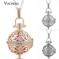 Wholesale Chain Metal Long - VOCHENG Pregnancy Ball Necklace Long Sweater Chain Copper Metal Angel Ball Chain Necklace with Stainless Steel Chain VA-055