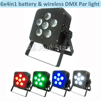 Wholesale Dmx 512 Wireless Dhl - Led Stage par lights 6x8W RGBW 4in1 Battery led flat par light   Wireless & DMX led par light uplight Club Light 4pcs lot DHL Free shipping