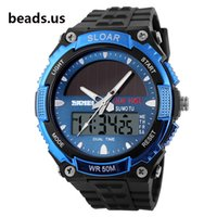 Wholesale Men Watches Solar Powered - Wholesale-2015 New Energy Solar Watch Men's Digital Sports LED Watches Men Solar Power Dual Time Military Wristwatch Relojes Montre
