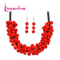 Kayshine Boho New Girly Necklace China Red Grey Purple Chain Necklace Drop Earrings Jewelry Set для женщин Аксессуары
