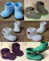 Wholesale purple infant boots resale online - 2015 Comfortable Baby crochet shoes baby boots infant handmade first walkers kids knit boots children Newborn baby knitting sho M cotton