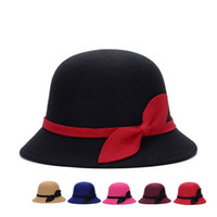 Wholesale Bowler Hat Green - Elegant Bowknot Top Hats Women Lady Wool Felt Caps Spring & Autumn Vintage Cloche Bowler Stringy Brim Hats High Quality DCBF126