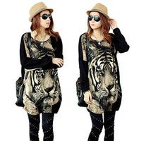 Wholesale Tiger Leopard Dresses - Loose Women Tiger Print Batwing Sleeve Pullover Mini Dress Vintage Blouse TopsFree&Drop Shipping