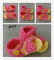 Wholesale Baby Sandles - Baby Sandals Crochet Baby Sandles fashion 16 pars lot Coral and Yellow Baby Shoes Baby Bow Shoes 0-12M