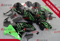 ABS paint molding - Black with green flames Injection molding custom painted fairing Suzuki Hayabusa GSX1300R