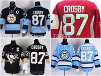 Wholesale Kids Size Hockey Jerseys - Buy Discount!!!Youth Pittsburgh Penguins 87 Sidney Crosby home black navy light blue red children's Ice Hockey Jerseys kids size