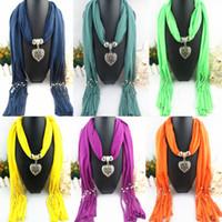Wholesale Purple Scarf Jewelry - FreeDHL Women Jewelry Beads drape Scarf Decoration Pendant Scarves mix Design Heart Pendants Scarfs top quality E83L