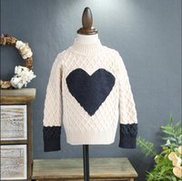 Wholesale Wholesale Heart Jumpers - Everweekend Kids Heart Knit Sweater Sweet Baby Beige and Black Color Tees Lovely Children Western Fashion Autumn Tops