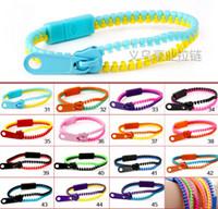 Wholesale New Zip Bracelet Wristband - Top quality New Zip bracelet wristband candy bracelet Popular Zipper bracelet many colors 100pcs