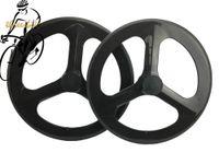 Wholesale Oem Road Bike Wheels - 700C 70mm Track Bike Carbon Tri Spoke Wheelset 3 Spokes Carbon Bicycle Wheels Road Cycling OEM Products