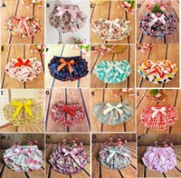 Wholesale Baby Sculpt - 2016 CHRISTMAS Shorts Baby PP shorts bow layered modelling moulding Sculpt floral printed girl Children's ruffled girls shorts flower A7