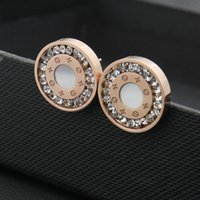 Wholesale gray diamond stud earrings - Foreign trade round Earrings Jewelry Wholesale single row drilling printed four gray shell earrings 18K Rose Gold Earrings