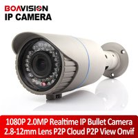Wholesale Varifocal Ip Cameras - H.264 2.0MP 1920*1080 HD 1080P Bullet IP Camera ONVIF Manual Varifocal Zoom Lens 2.8~12mm 42Pcs Leds Outdoor Waterproof Smart Security