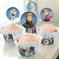 Wholesale Decorations For Kids Parties - Free Shipping new Frozen party supplies favors cupcake wrappers cup cake toppers picks for kids birthday decorations accessories