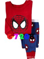 Unisex spiderman pyjama - Toddler kids spiderman pajamas baby boy girl thin cotton piece set suits infant homewear pajama pyjamas J101306