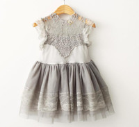 Wholesale Girls Lace Sleeve Tops - Baby Girls Cotton Lace Puff Sleeve Summer Ball Gown Dresses Princess Fairy Tulle Party Dance Dress Crochet Lace Flower Tops Tutu dress A6595