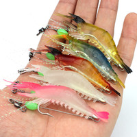 Wholesale 9cm soft lure online - 5 color cm g Luminous Shrimp Hook Fishing Hooks Soft Baits Lures Artificial Bait Pesca Fishing Tackle Accessories