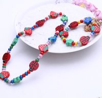 Wholesale Princess Presents - 24sets Princess Children's Jewelry Cute Two-piece Wooden Necklace Bracelet Sets For Christmas Presents Wholesale Accessories Free Shipping