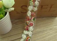 "Wholesale 3d Rose Lace Trim - 15 Yard Width 2"" 3D Rose Flower chiffion Lace Fabric Trim Ribbon For DIY Bridal wedding Doll Cap"