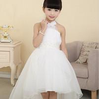 Wholesale Korean Kids Girls Model - white lace long tail wedding kids dresses for girls 2016 Korean girls princess dress children's clothing girls dress