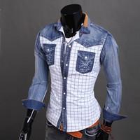 Wholesale Cotton Denim Shirts Men - 2016 New Arrival Fashion Denim Shirts Patchwork Plaid Shirts For Men Long Sleeve Men Shirt Jeans Shirt Men Clothes Chemise Homme