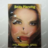 Wholesale labret eyebrow nose rings resale online - 3pcs Sets Facial Piercing L Surgical Steel Nose Rings Eyebrow Jewelry Labret Bulk LR227