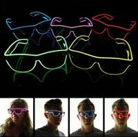 Wholesale Bright Bar Sizes - designer Simple Cosplay sunGlasses EL Wire Light LED Glasses Bright Light Party Glasses Club Bar Performance Glow Party DJ Dance Eyeglasses