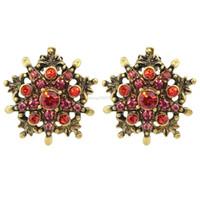 Wholesale Vintage Ruby Stud Earrings - Elegant Vintage Style Bronze with Red Rhinestone Star Stud Earrings For Women
