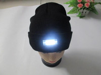 Wholesale Led Grilled Light - DHL Free Black Beanie LED Glowing Knitted Caps with 5 Led Flash Light Novelty Led Hat for Hunting Camping Grilling Jogging Walking Wholesale