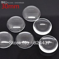 Wholesale Cabochon Glass Tile - Wholesale-Free shipping 10 Clear Round Cabochon Glass Dome Tile Seals 30mm For Photo Craft Jewelry Make(W01558 X 1)