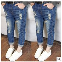 Wholesale Kids Denim Pockets Style - Kids Boy Girl Jeans Fashion Private Ripped Jeans 2015 NEW ARRIVAL GOOD QUALITY suit for 3-7T Freeship