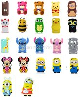 Wholesale Wholesale Giraffe Teddy - Wholesale-Newest 22 model 3D cartoon animal Monkey duck Giraffe Turtle Elephant teddy winnie bear soft silicone case cover For Iphone 5 5s