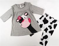 vestido de las muchachas de la vaca al por mayor-Nueva llegada Vestido de estilo de moda para bebés Trajes de niñas Nuevo Estilo de moda trajes para niñas Trajes de vaca encantadores