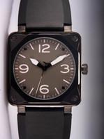 relogios mecânicos quadrados venda por atacado-Preços por atacado Automático de Luxo Estilo Vintage Mecânico Preto Relógio De Pulso De Borracha Marca Suíça Quadrado PVD Mens Relógios Inoxidável Para Homens Homem