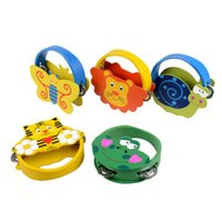 Wholesale Kids Percussion Instrument - Wholesale- Baby Newborn Gift Toys Kids Girls Learning Musical Instrument Toy Rattles Cartoon Wooden Percussion Animal Bell Infant Boys