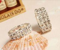 Wholesale Elastic Crystal Toe Rings - 50 pcs Rhinestone Wedding Bridal Fashion Finger Rings Silver Crystal Toe Ring Elastic Body Jewellery
