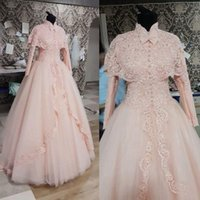 Wholesale Organza High Neck Wedding Jacket - 2015 Light Pink Wedding Dresses Fabulous High Neck Lace Wedding Gowns with Jacket High Neck Muslim Wedding Dress Button Front Bow Lace