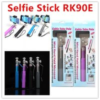Wholesale Aluminum Clips For Wire - Wired Monopod Selfie Stick Rear mirror Clip Built-in Shutter Wired Handheld RK90E Cable Extendable Selfie Stick for iphone IOS Android phone