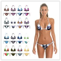 Wholesale Silver Swimsuit Wholesale - 2016 New Fashion 3D Stars Printed Bikinis Swimsuit Women Sexy Halter Bandage Triangle Swimwear Tankinis Beachwear