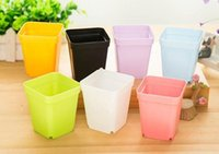 Wholesale Green Flowerpot - Wholesale Flower Pots Mini Flowerpot Garden Degradable City 7 Colors Square Plastic Plant Pots Planters Decoration Home Office Desk Garden