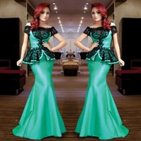Mint Green Mermaid Arabisch Abendkleid Bateau Black Lace Applique Trompete Satin Lange Afrika Prom Party Kleider Plus Size Mutter Kleid 2017