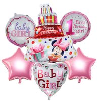 Wholesale First Baby Shower - New 6pcs set Boy Girl mickey minnie foil balloons first birthday helium globos for baby shower birthday party decoration ballons