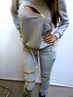 Wholesale wholesale sexy clothing - Tracksuits Hoodies Sweater Fashion Big Girls Long Sleeve Sexy Sport Outfits Zipper Tops Pant Leisure Suits Women Clothing DHL