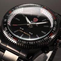 Wholesale Shark Brand Wrist Watch - Brand SHARK LED Dual Time Date Black Alarm Full Steel Strap Relogio Original Military Quartz Outdoor Men Digital Sport Wrist Watch   SH001