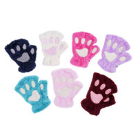Wholesale gloves cat cosplay online - Women Girl Children Colors Winter Fluffy Plush Gloves Mittens Cat Bear Paw Claw Glove for Party Cosplay