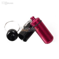 Wholesale Trendy Pill Boxes - Wholesale-EA14 Aluminum Pill Box Bottle Holder Container Keychain W