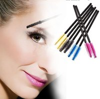 Wholesale disposable cosmetic brushes - Factory Price Disposable Eyelash Brush Mascara Wands Applicator Makeup Cosmetic Tool Pink Blue Yellow Black color